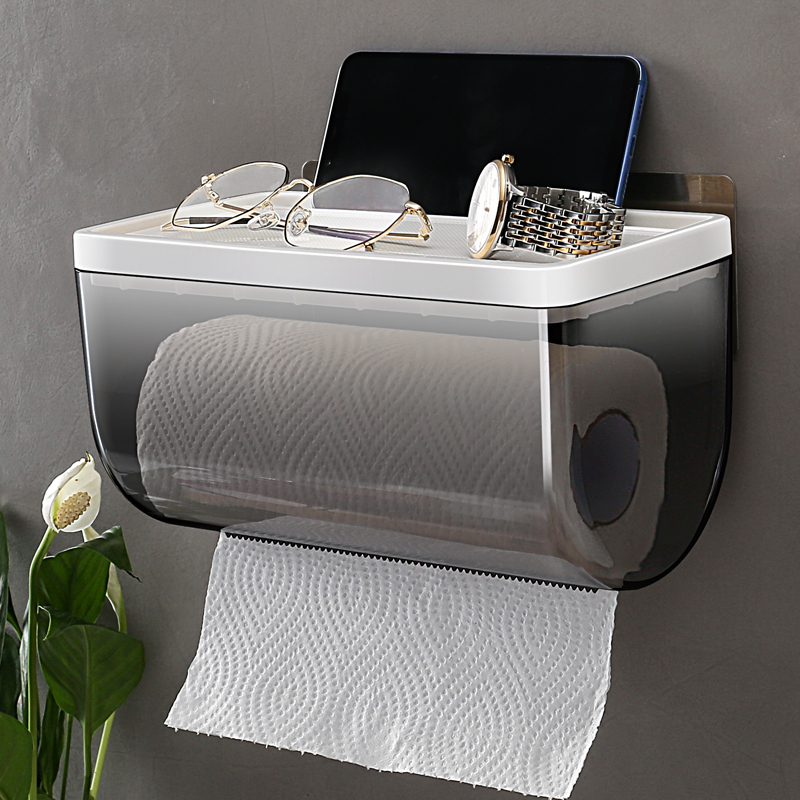 免打孔防水纸巾盒卫生间纸巾架壁挂厕所纸巾盒防水卫生纸盒卷纸架
