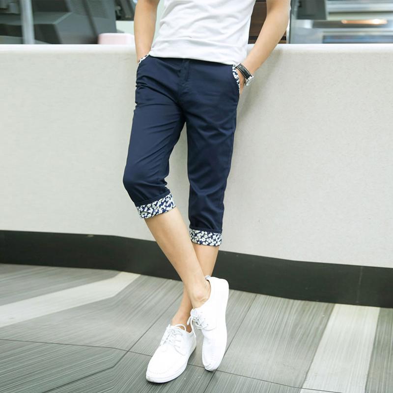 七分裤男夏季薄款修身7分休闲裤男裤子男士短裤男夏裤男装潮