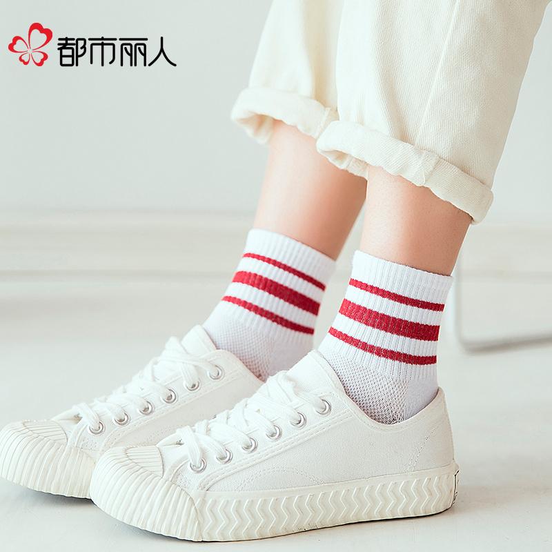 网红袜子女ins潮百搭学生运动韩版学院风街头个性薄款春夏中筒袜