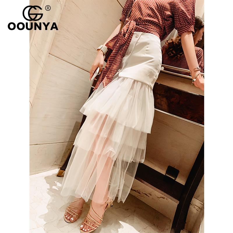 格润雅适合胯大腿粗的裙子白色网纱拼接蛋糕裙女神气质半身裙高腰