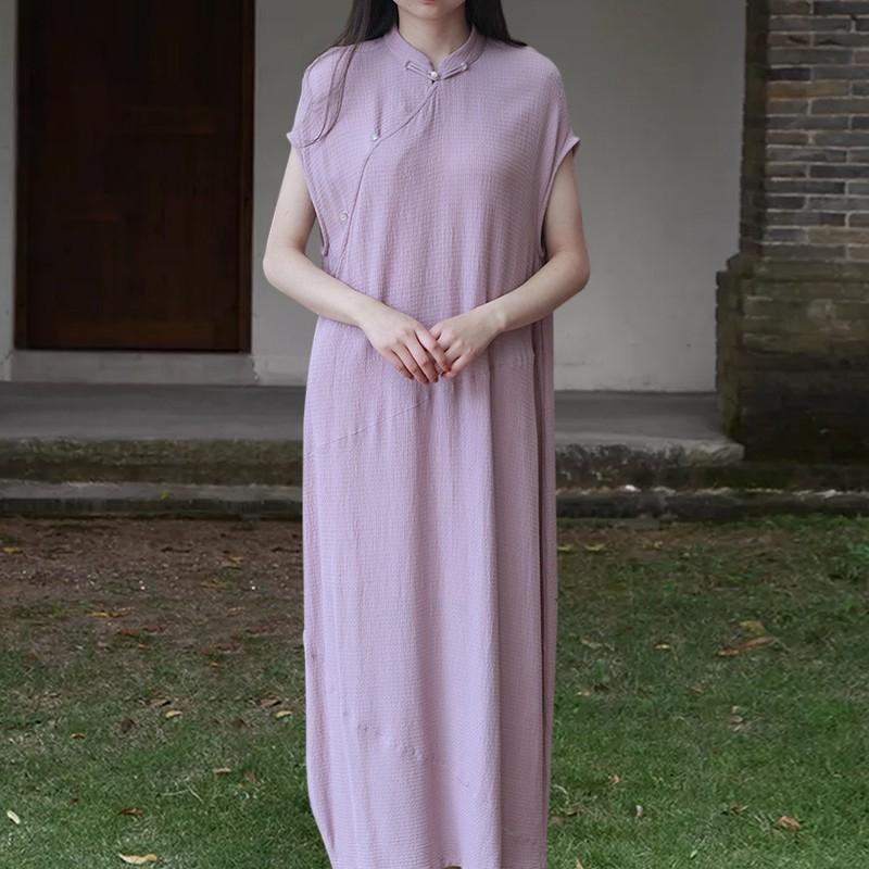 知笔墨夏中国风棉麻紫色提花连衣裙