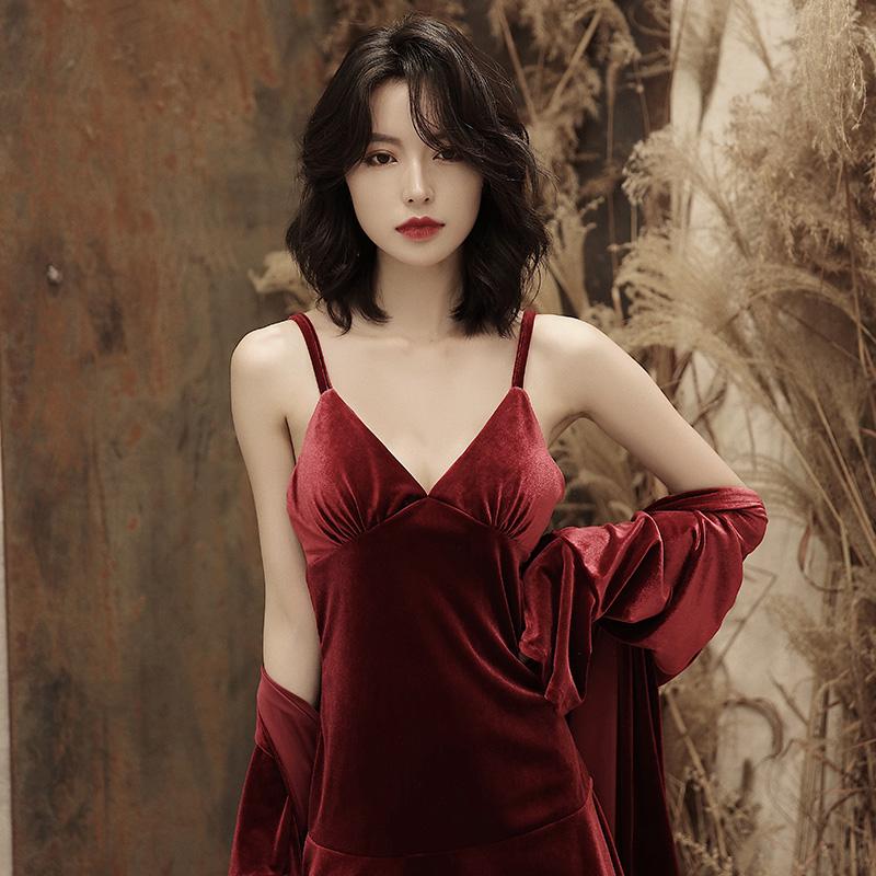 睡衣女春秋金丝绒吊带睡裙两件套性感家居服薄款长袖睡衣女秋冬