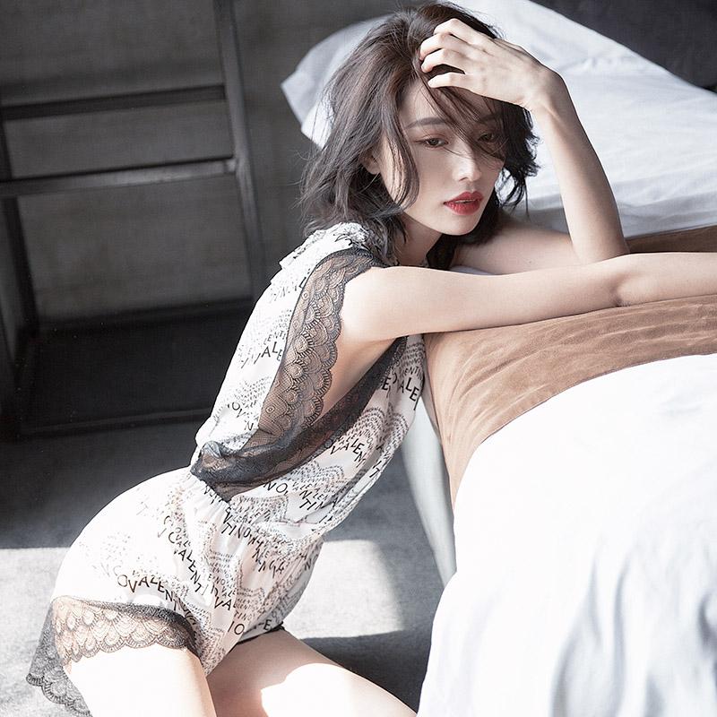 睡衣女夏季薄款无袖短裤雪纺睡衣连体家居服性感夏天睡衣女春秋图片