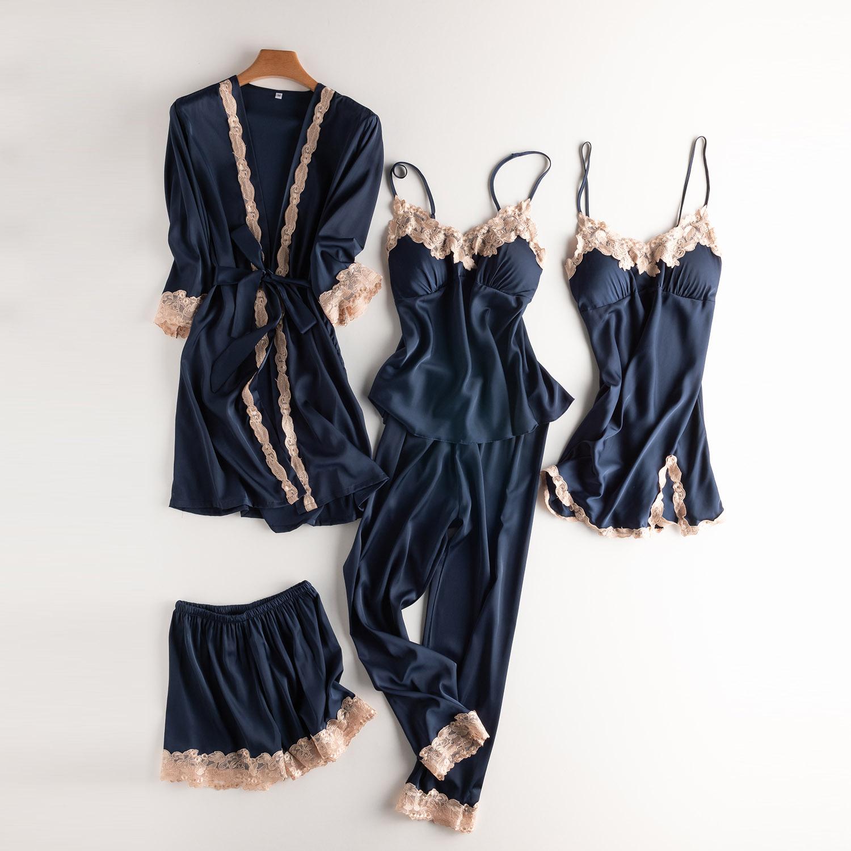 睡衣女夏季冰丝纯色五件套韩版性感家居服新款长袖睡衣女夏季薄款