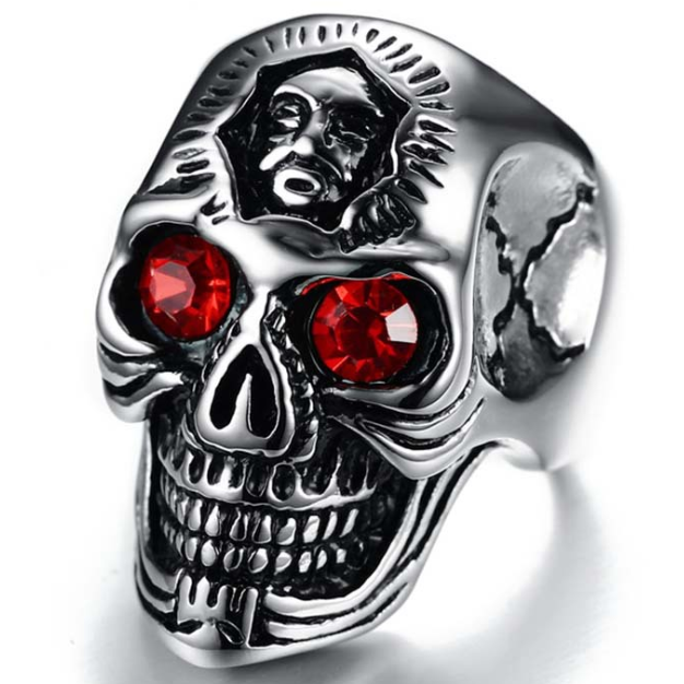 Exaggeration alternative fashion fashion new red eye crystal gem skull head ring male titanium steel brother ring inscription