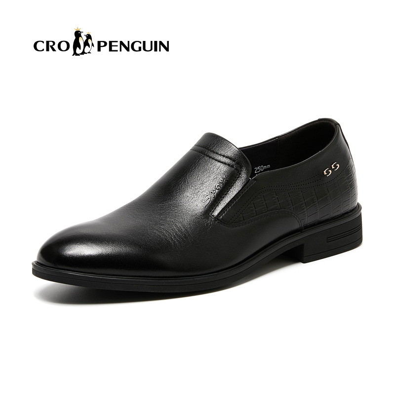 Penguin 2018 new mens formal single shoes wear-resistant business leather mens shoes pointed head leather mens shoes