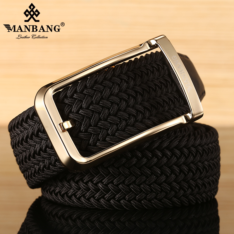 Manbang belt mens elastic pinless buckle casual belt leather canvas woven elastic young and middle-aged mens pants