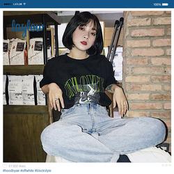 2020夏装新款韩国INS超火上衣hiphop嘻哈宽松bf风漫画短袖T恤男女