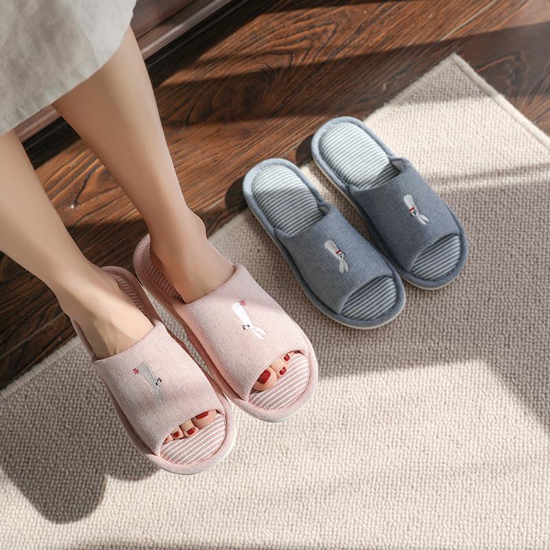 家用室内四季款可爱亲子兔子棉拖鞋