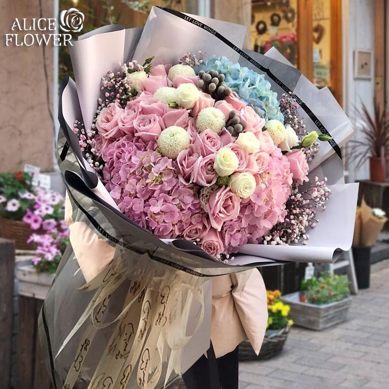 超巨大花束杭州花速達同城バラアジサイ夫誕生日予約花屋から花が届きます。
