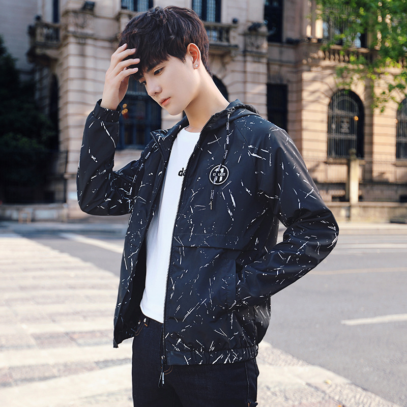 Spring and autumn jacket mens hooded Japanese fashion printed middle school students coat personality versatile and slim casual jacket