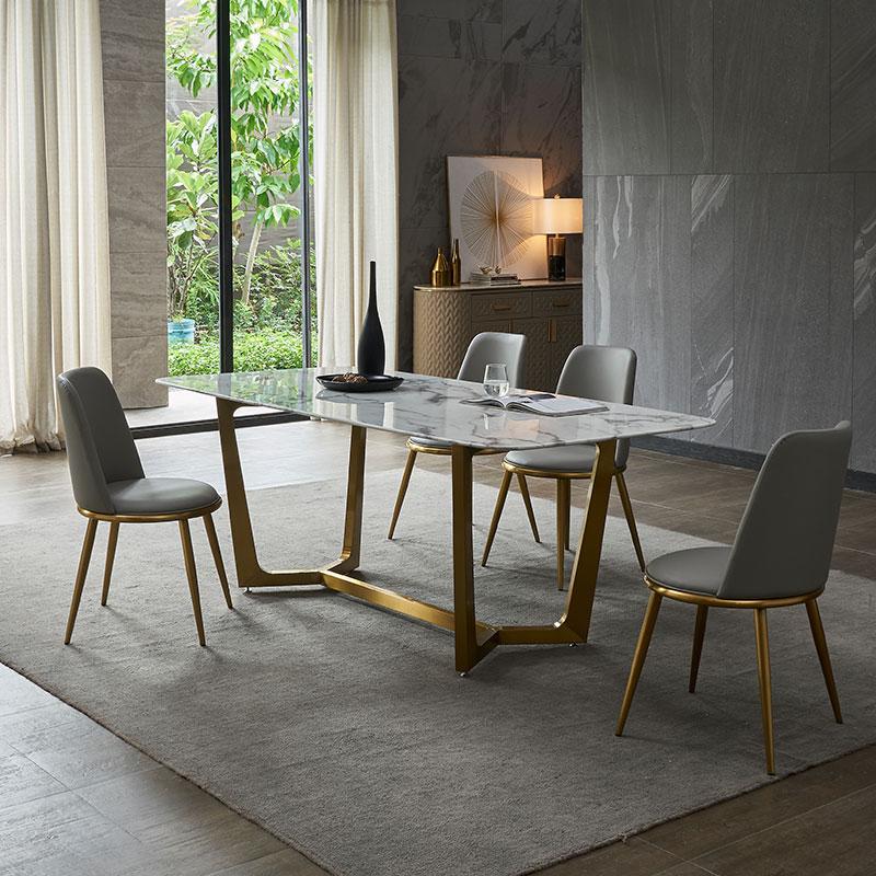 券后2580.00元大理石餐桌椅组合长方形家用桌子小户型不锈钢简约现代轻奢餐桌