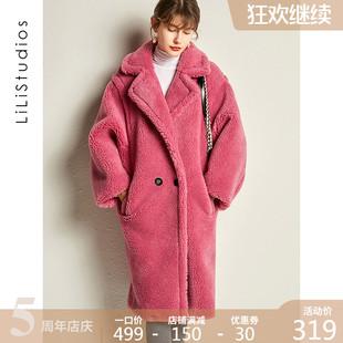 泰迪熊皮毛一体羊剪绒大衣女秋冬季中长款颗粒澳洲羊羔毛皮草外套