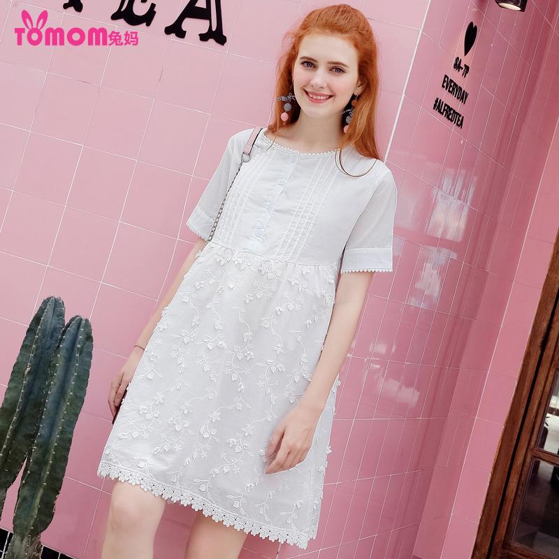 兔妈孕妇夏装白色棉连衣裙2018新款高腰显瘦中长哺乳裙韩版