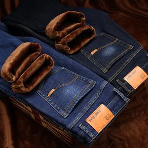 冬季加绒牛仔裤男加厚保暖弹力修身直筒休闲大码宽松长裤子秋冬款