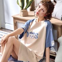 夏季新品纯棉短袖睡裙中长款韩版可爱休闲大码家居服