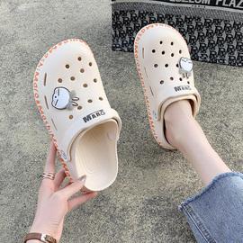 凉鞋2021年新款超火ins潮女士夏季仙女风外穿运动百搭平底洞洞鞋