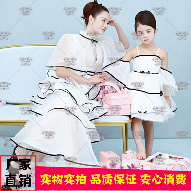 2019新款影楼亲子照写真儿童摄影母女主题服装气质仙女白色连衣裙