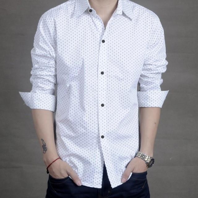 男士韩版纯棉白色长衬衫潮春夏男士薄款长袖衬衫修身超薄长袖衬衣