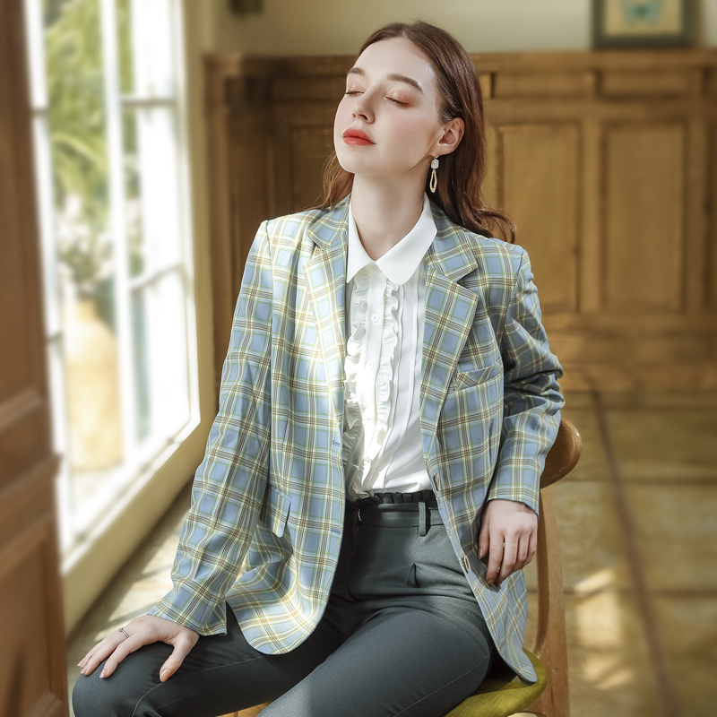 Plaid Blazer womens autumn 2020 new Korean long sleeve British style retro suit loose top