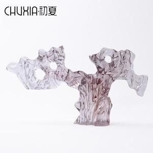 新中式透明水墨太湖石艺术雕塑现代酒店样板房售楼部玄关软装摆件