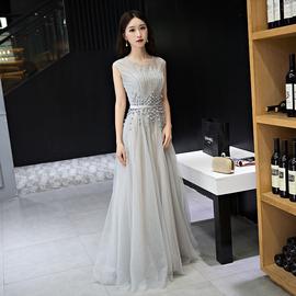 晚礼服裙宴会2018新款优雅端庄聚会名媛晚宴女主持连衣裙长款显瘦