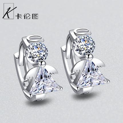 925纯银耳扣女设计感耳圈韩国气质小众水晶耳环睡觉不用摘的耳钉