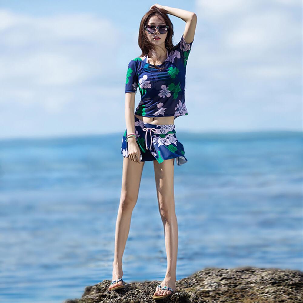 泳衣女保守分体裙式平角遮肚显瘦韩国温泉聚拢比基尼三件套游泳装