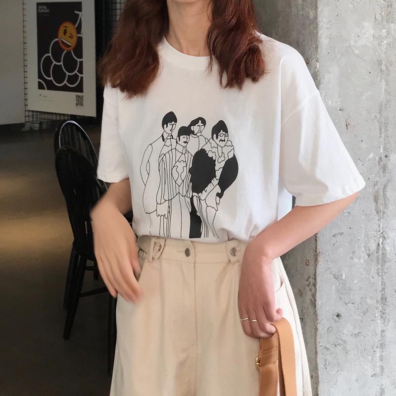 实拍质检 控价26元 夏装学院风宽松百搭印花圆领短袖T恤女