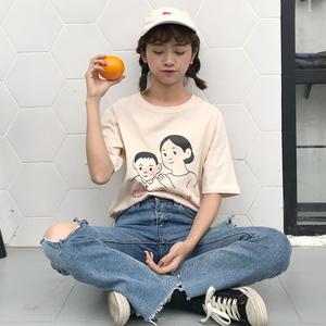 实拍质检小视屏 宽松百搭日文字母卡通印花短袖T恤