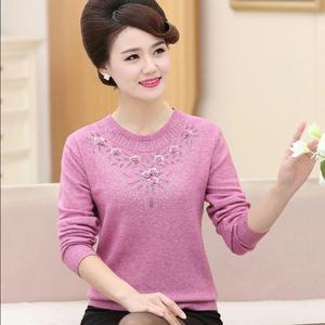 新款中老年女装秋冬毛衣 宽松妈妈装打底衫长袖针织衫上衣加绒衫