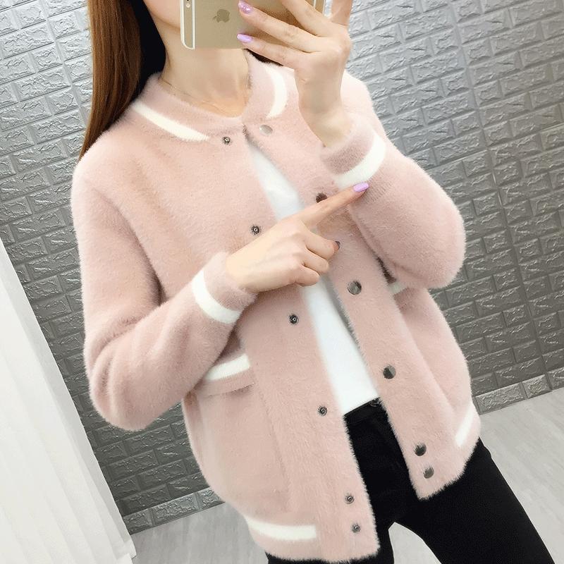 仿水貂绒毛衣开衫外套女2020年新款女装春季韩版潮流行洋气针织衫