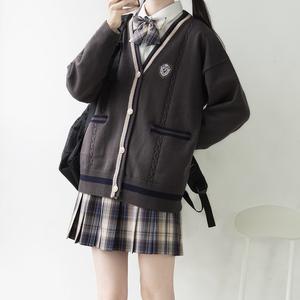 【刺篇】新款JK/DK制服本聿中男女宽松落肩针织毛衣开衫外套秋冬