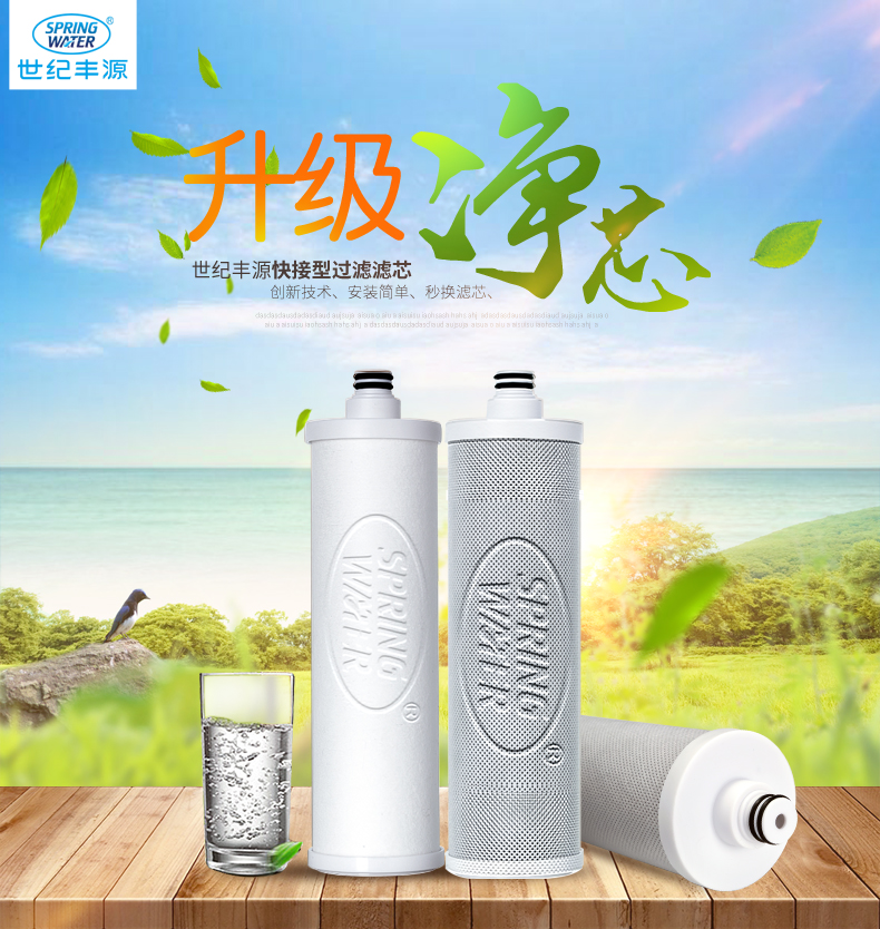 Shijifengyuan 10 inch quick connect filter water purifier 3 pieces of PPG granular carbon sintered activated carbon