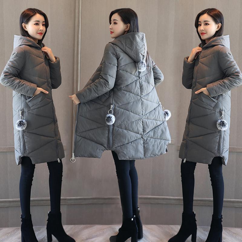 实拍2017冬季新款韩版宽松加厚连帽羽绒服女装中长款棉服外套