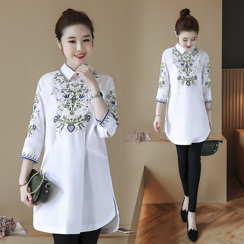 2020 spring new embroidered shirt dress with fashionable and versatile design and color, 7 / 3 sleeve medium length womens ethnic style