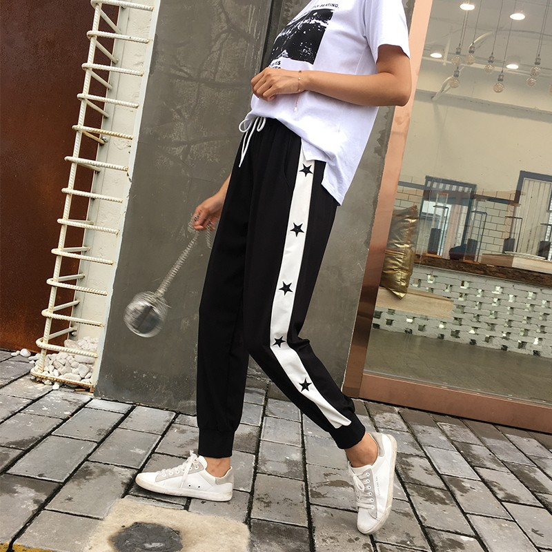 超大码ins运动裤女夏学生薄款胖mmbf风200斤宽松束脚大腿粗的裤子