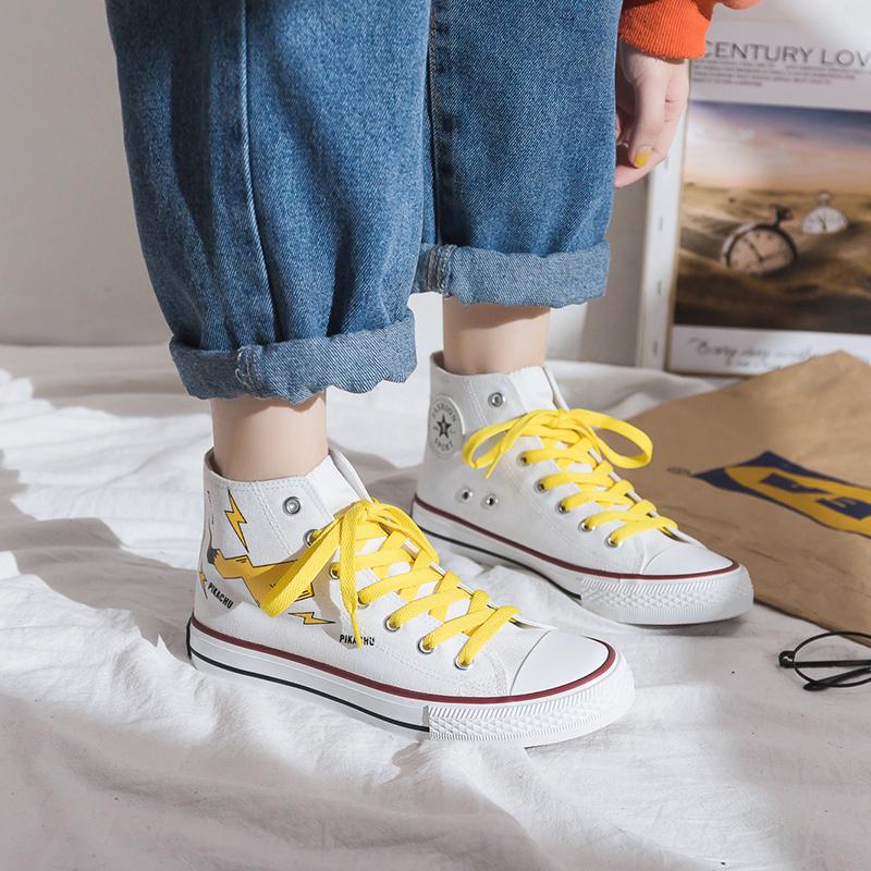 Cartoon baokemeng Pikachu co branded canvas shoes for men and women