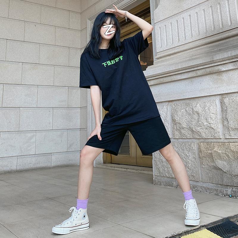 黑色运动休闲五分裤子女2020夏季新款宽松阔腿高腰直筒薄款短裤潮