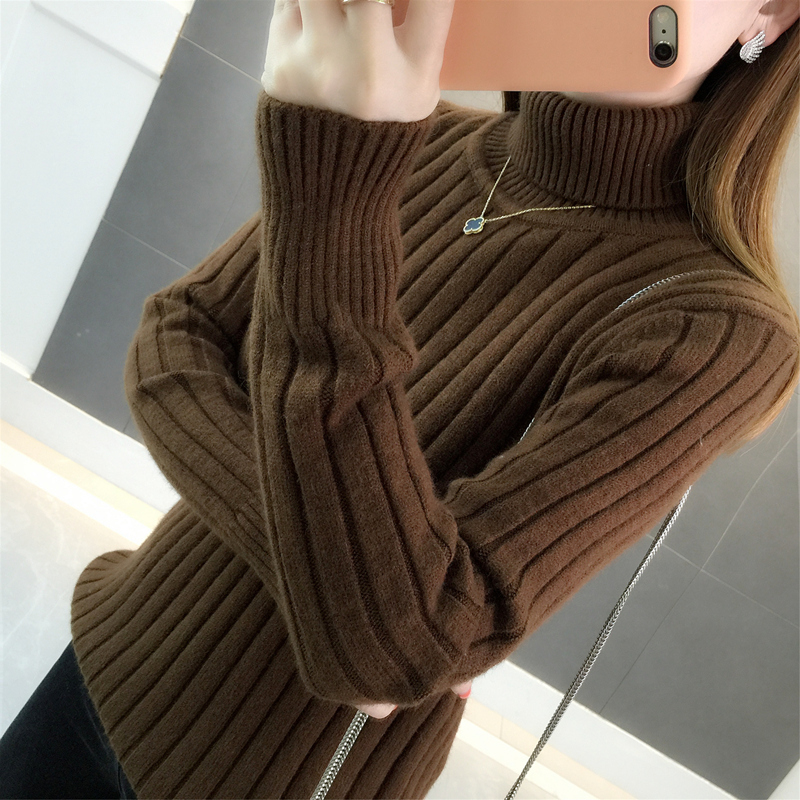 Autumn and winter 2020 new Pullover super thick knitted base shirt with long sleeve Korean loose turtleneck