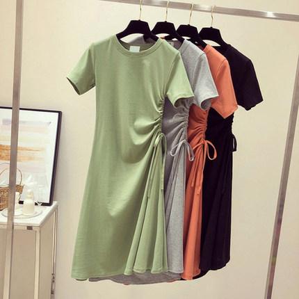 小清新ins收腰顯瘦短袖連衣裙t恤