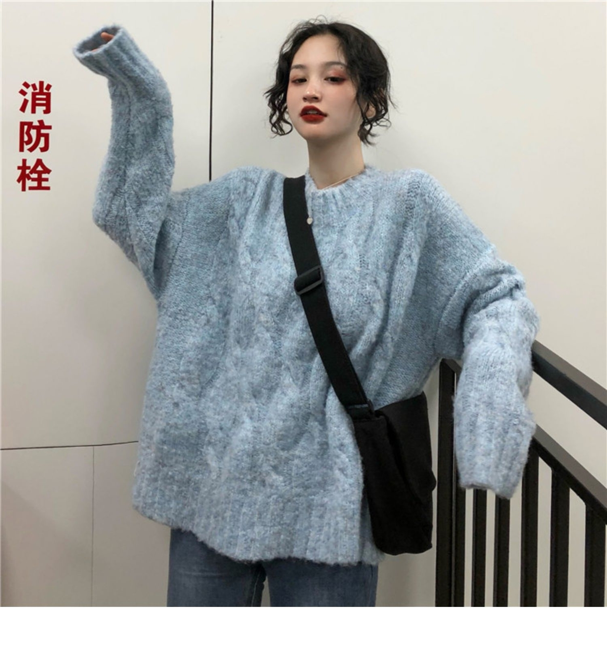 Korean style wear winter mohair sweater womens loose Hong Kong Style thickened twist Pullover thick thread coat
