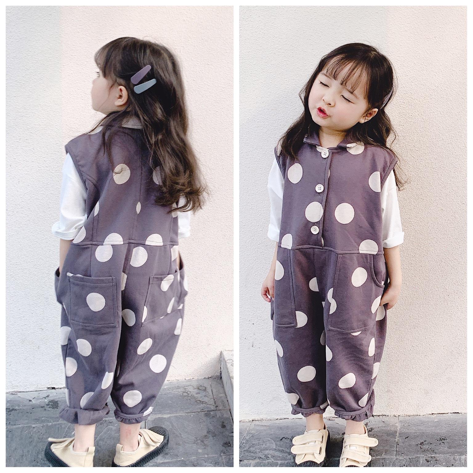 2020童装春夏款新品 儿童韩版波点连身衣衬衫款背带裤 8
