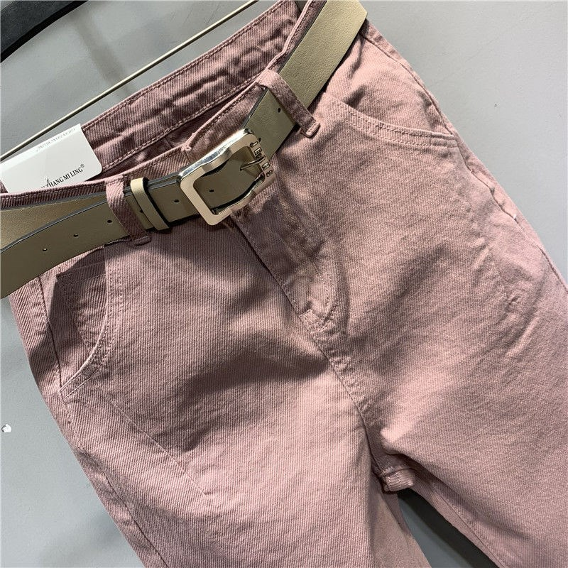 Korean spring and autumn new pink high waist straight tube radish pants daddy casual cotton pants