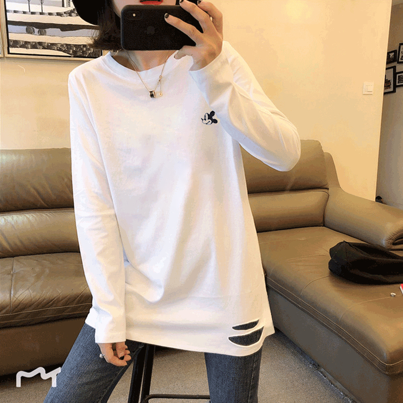 Chinese girls T-shirt womens Long Sleeve White Mickey cotton sweater T-shirt with Mickey Mouse base
