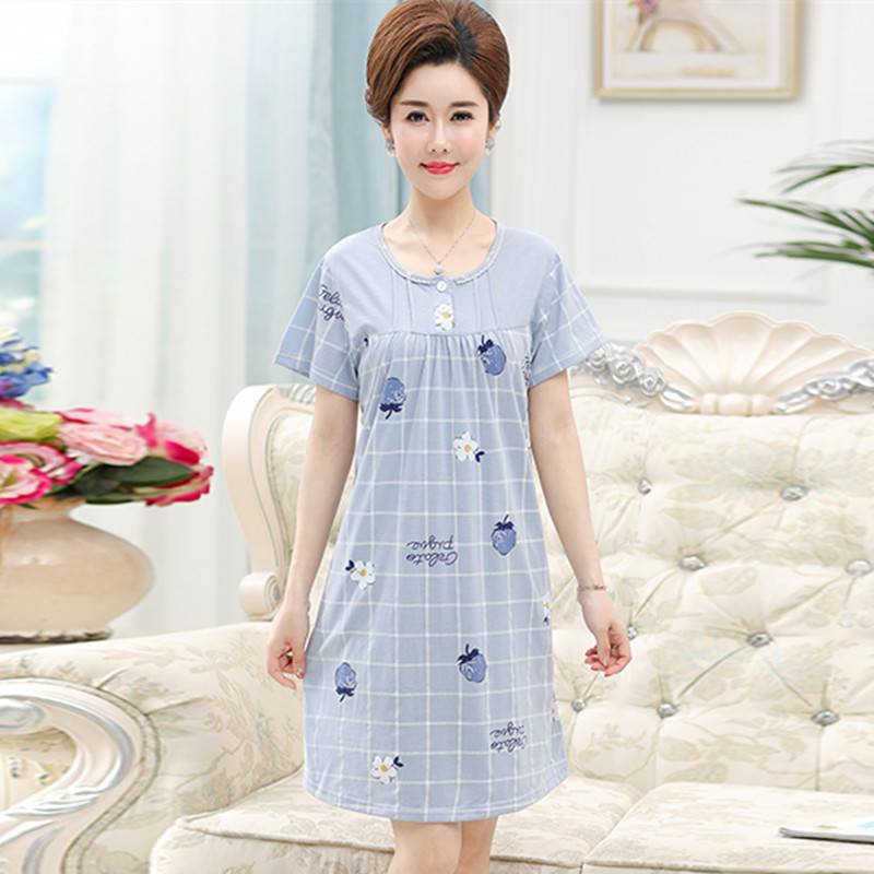 (用5元券)中老年人中年女士纯棉加大码睡裙