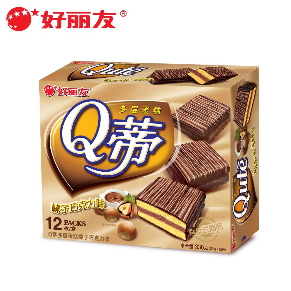 好麗友Q蒂榛子巧克力味12枚336g 西式蛋糕點心甜點 零食品早餐