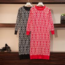 秋装新款大码女装胖mm洋气减龄遮肚显瘦中长款菱形针织打底连衣裙