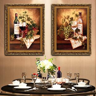 餐厅装 壁画高清静物葡萄水果 饰画挂画三联厨房饭厅壁画有框画欧式