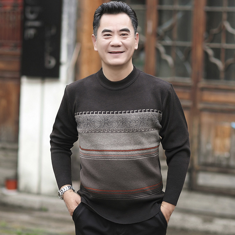 Qt5012-1 middle aged dad casual sweater half high collar mens Jacquard mens sweater 307p40